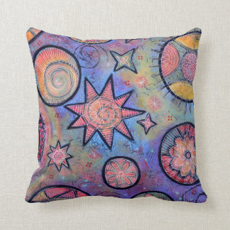 Whimsical Colorful Cosmic Pillow