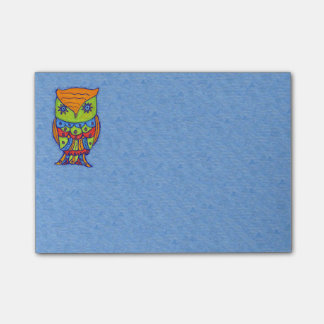 Whimsical Colorful Fantasy Owl Post-it Notes