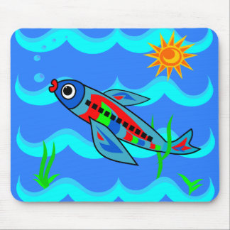 Whimsical Colorful Fish Airplane Mouse Mat