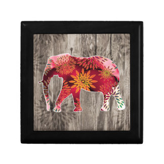 Whimsical Colorful Floral Elephant on Wood Design Gift Box