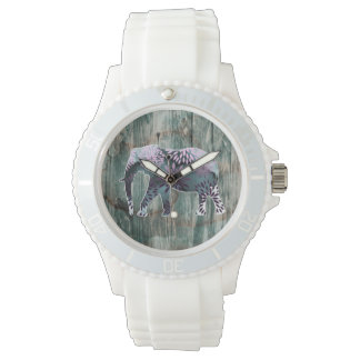 Whimsical Colorful Floral Elephant on Wood Design Watch