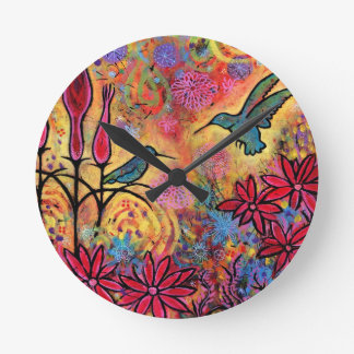 Whimsical, Colorful Hummingbird Fantasy Round Clock