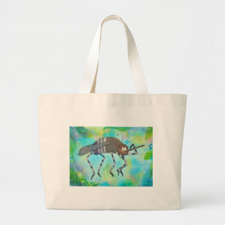 Whimsical Colorful Mosquito Flexing Muscles Funny Large Tote Bag