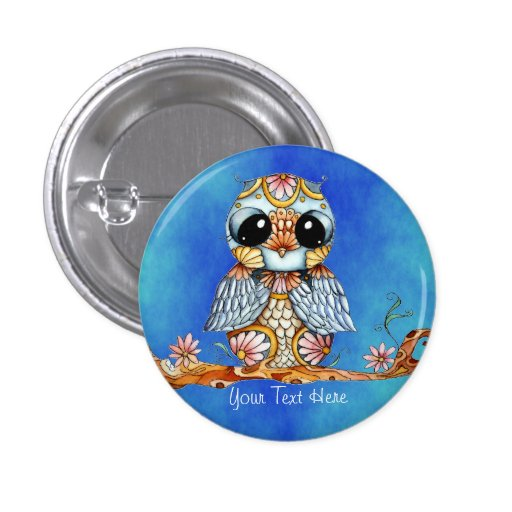 Whimsical Colorful Owl Customizable Button