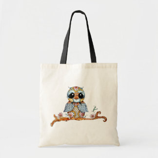 Whimsical Colorful Owl Tote Bag