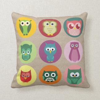 Whimsical Colorful Owls Faux Burlap Throw Cushion