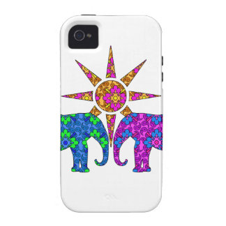 Whimsical Colorful Paisley Elephant Love iPhone 4 Cases