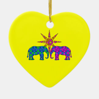 Whimsical Colorful Paisley Elephants In The Sun Christmas Tree Ornament