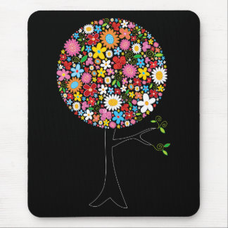 Whimsical Colorful Spring Flowers Pop Tree Nature Mouse Mat