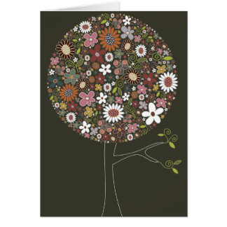 Whimsical Colorful Spring Flowers Pop Tree Nature Note Card