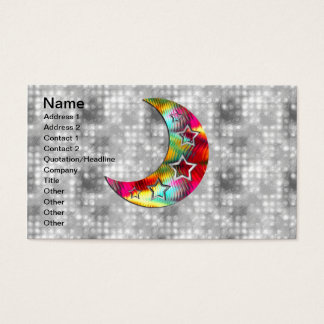 Whimsical Colorful Stars and Moon Business Card