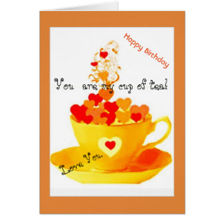 Whimsical Colourful Hearts Love You Birthday Card
