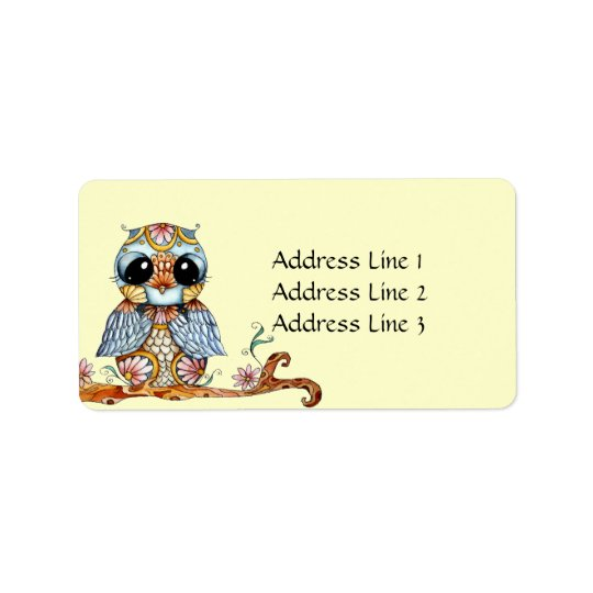 Whimsical Colourful Owl Address Label