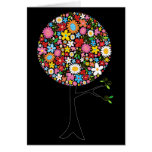 Whimsical Colourful Spring Flowers Pop Tree Nature Greeting Card