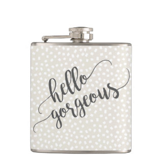 Whimsical Confetti Dots Hello Gorgeous Hip Flask