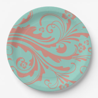 Whimsical Coral and Mint Chic floral Paper Plate