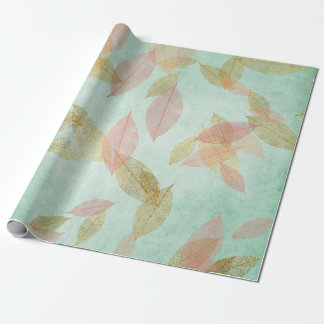 Whimsical Coral Gold Falling Leafs Mint Green Wrapping Paper
