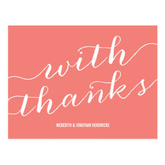 Whimsical Coral Pink Thank You Postcard