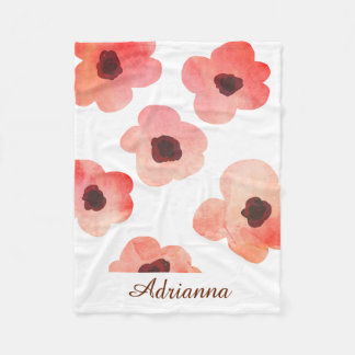 Whimsical Coral Watercolor Flowers Personalize Fleece Blanket
