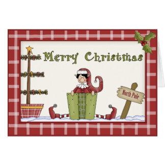 Whimsical Country Christmas Elf on Red Plaid Greeting Card
