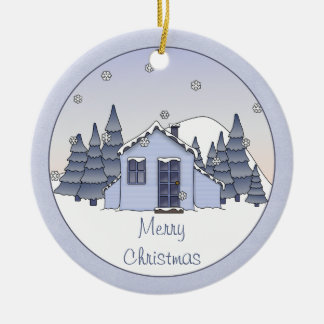 Whimsical Country Cottage Winter Scene in Blues Christmas Ornament