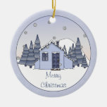Whimsical Country Cottage Winter Scene in Blues Round Ceramic Decoration