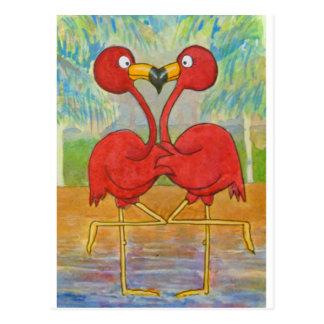 Whimsical Couple Pink Flamingo Tropical Beach Bird Postcard