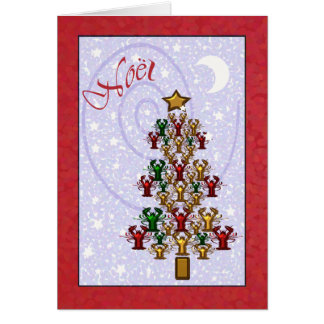 Whimsical Crawfish Lobster Christmas Tree Cards