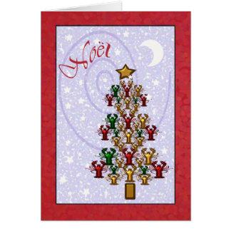 Whimsical Crawfish Lobster Christmas Tree Greeting Card
