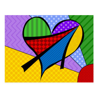 Whimsical Cubism Heart Postcard with Background