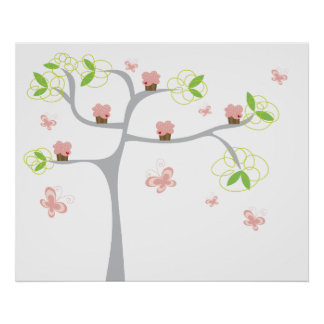 Whimsical Cupcakes Tree Butterflies Sweet Birthday Poster