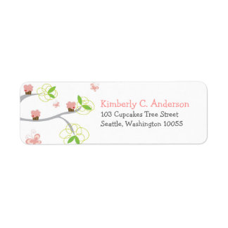 Whimsical Cupcakes Tree Butterflies Sweet Birthday Return Address Label