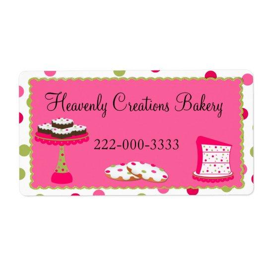 Whimsical Custom Pink & Green Bakery Label