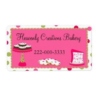 Whimsical Custom Pink & Green Bakery Label Shipping Label