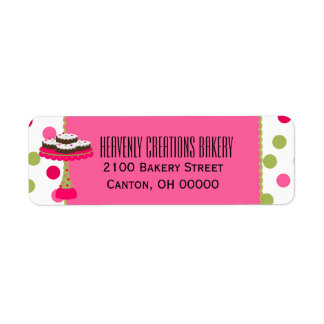 Whimsical Custom Pink & Green Bakery Return Label Return Address Label