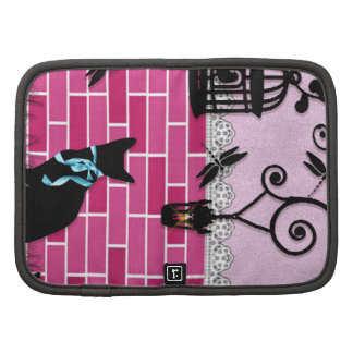 Whimsical cute cat & bird cage on pink vector wall planners