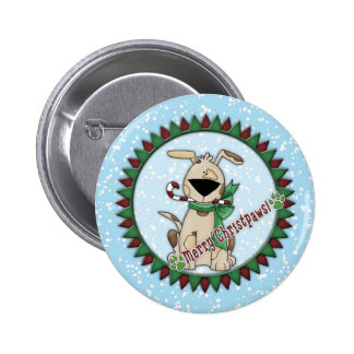 Whimsical cute dog with candy cane 6 cm round badge