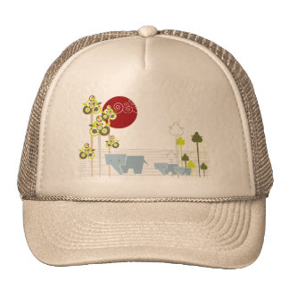 Whimsical Cute Elephant Family In Forest Trees Sun Cap