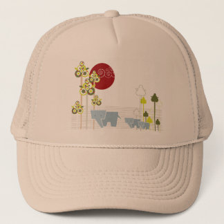 Whimsical Cute Elephant Family In Forest Trees Sun Trucker Hat