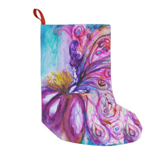 WHIMSICAL CUTE FAIRY IN PINK AND GOLD SPARKLES SMALL CHRISTMAS STOCKING