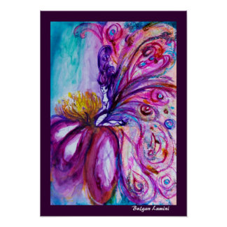 WHIMSICAL CUTE FLOWER FAIRY IN PINK,GOLD SPARKLES POSTER