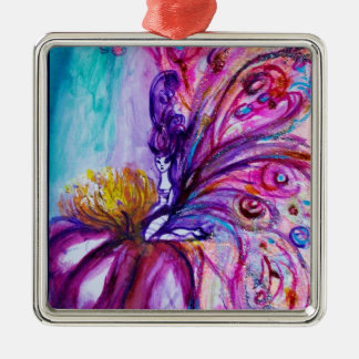 WHIMSICAL CUTE FLOWER FAIRY IN PINK,GOLD SPARKLES Silver-Colored SQUARE DECORATION