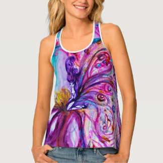 WHIMSICAL CUTE FLOWER FAIRY IN PINK,GOLD SPARKLES TANK TOP