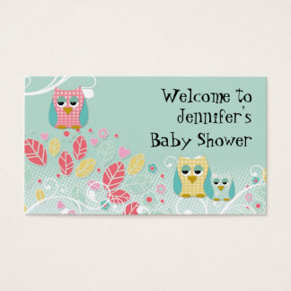 Whimsical Cute Fun Swirl Owl Owls Baby Name Wall Business Card