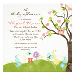 Whimsical Cute Owls Tree of Life Heart Leaf Swirls Personalised Announcement