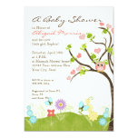 "Whimsical Cute Owls Tree of Life Heart Leaf Swirls 5"" X 7"" Invitation Card"