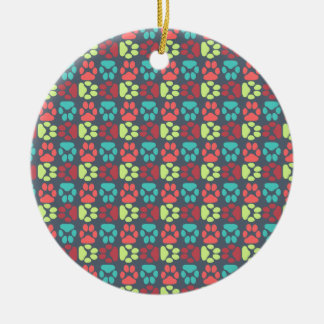 Whimsical Cute Paws Pattern Christmas Ornaments