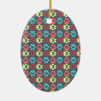 Whimsical Cute Paws Pattern Ornament