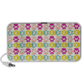 Whimsical Cute Paws Pattern iPhone Speakers