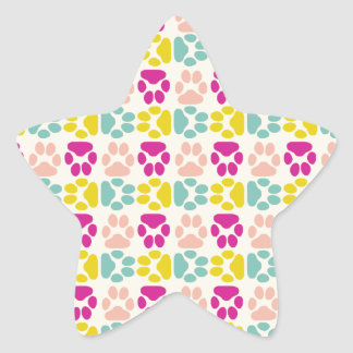 Whimsical Cute Paws Pattern Star Sticker